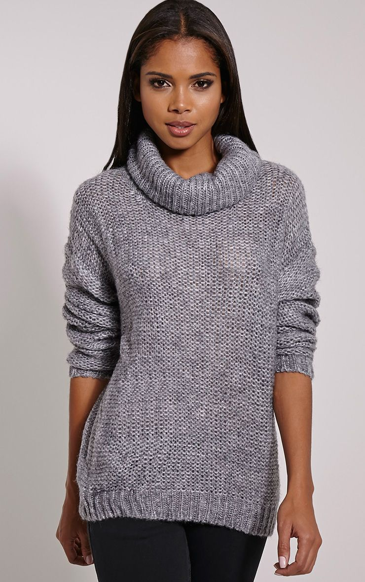 Lucia Grey Oversized Knitted Jumper 1