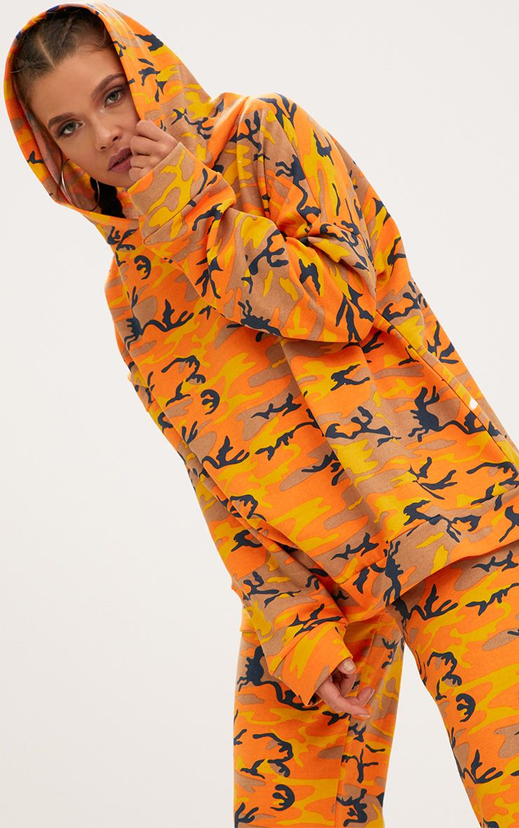 Orange Camo Oversized Hoodie