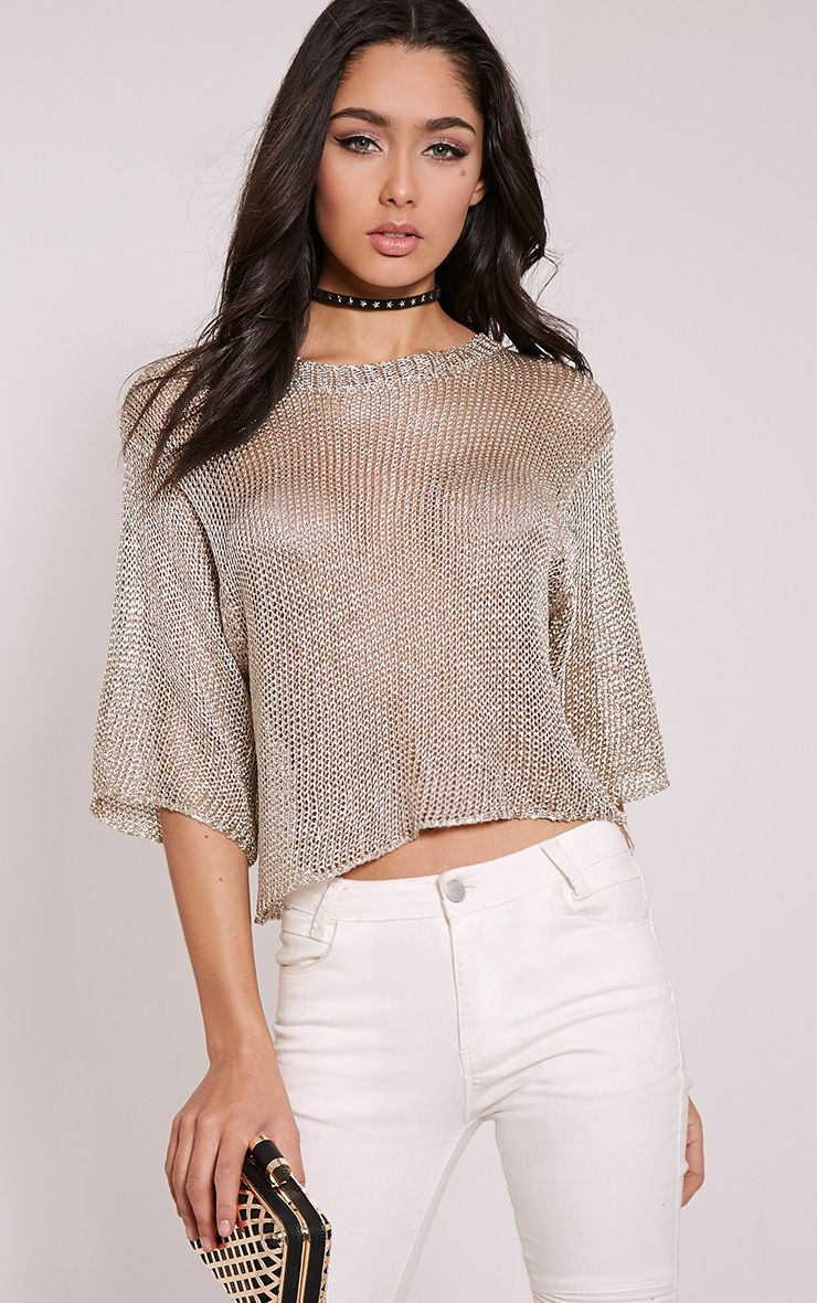 Susannah Gold Metallic Knitted Crop T-Shirt 1