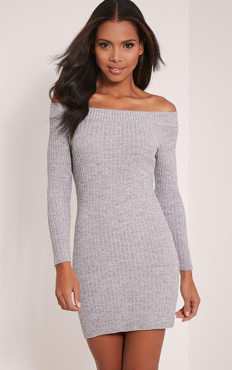 Julia Grey Knit Bardot Mini Jumper Dress