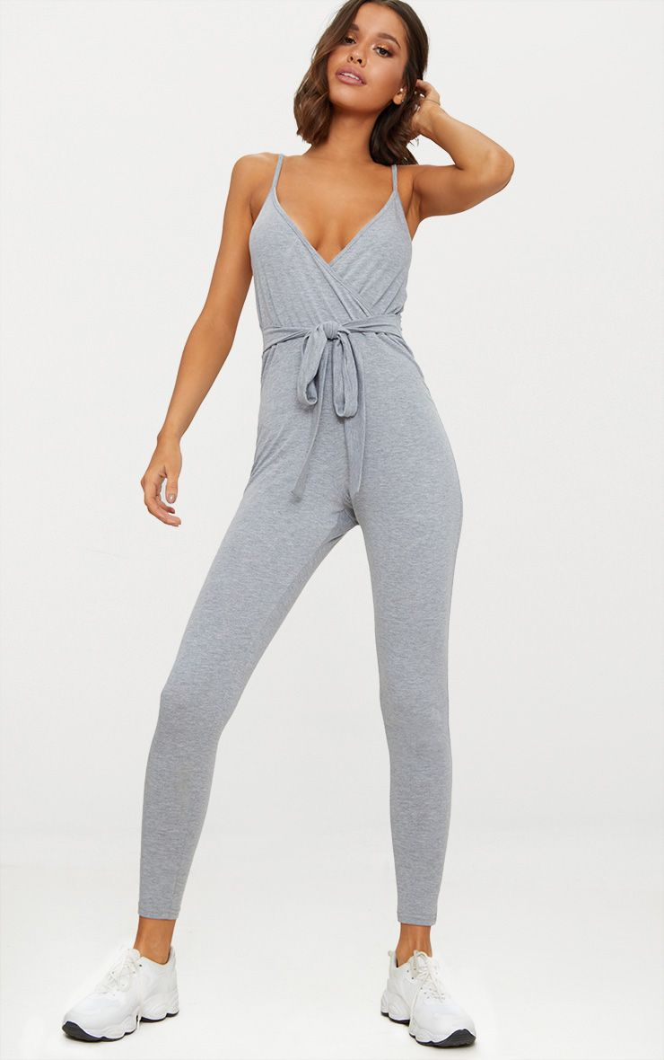 Grey Marl Jersey Wrap Tie Waist Jumpsuit