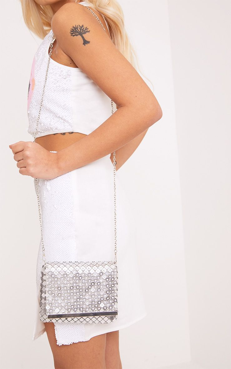 Jolee Silver Chainmail Clutch