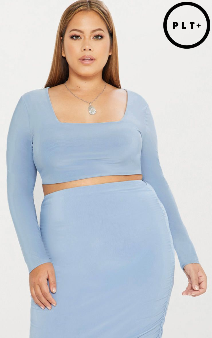 Plus Dusky Blue Second Skin Square Neck Long Sleeve Crop Top