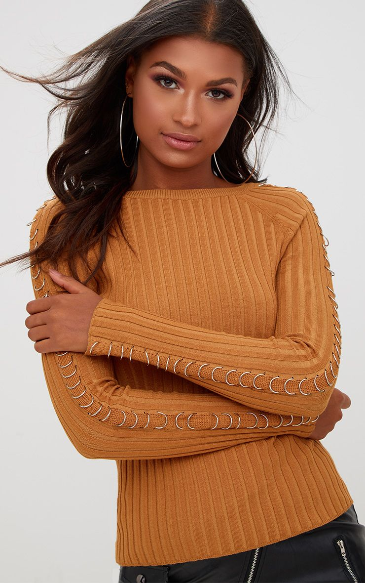Yellow Ring Detail Ribbed Jumper