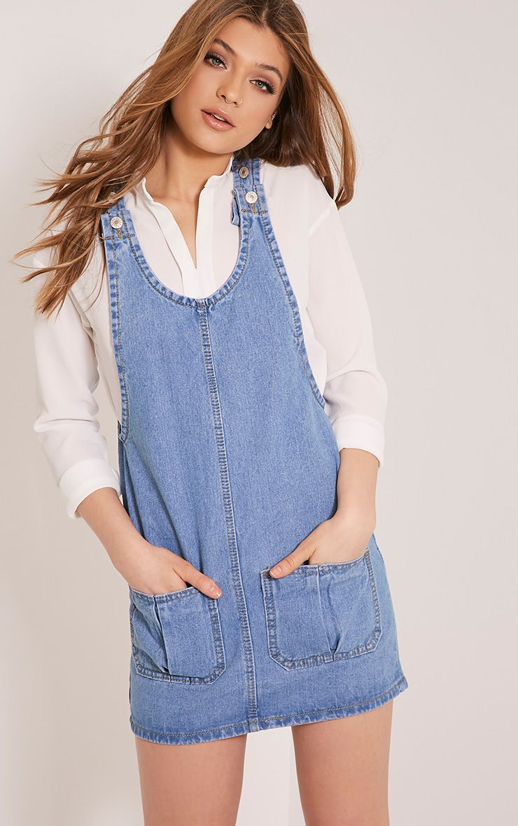 Marilyn Blue Denim Pinafore Dress 1