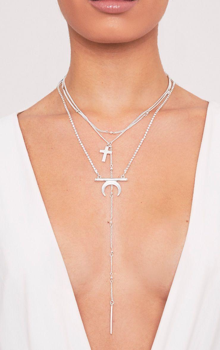 Bilhah Silver Multi Layer Pendant Necklace