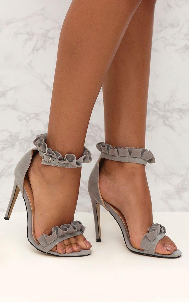 Grey Frill Strap Heels