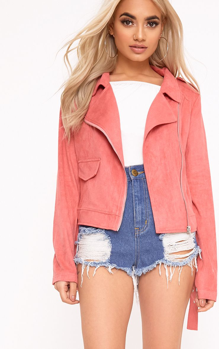 Niki Rose Faux Suede Biker Jacket