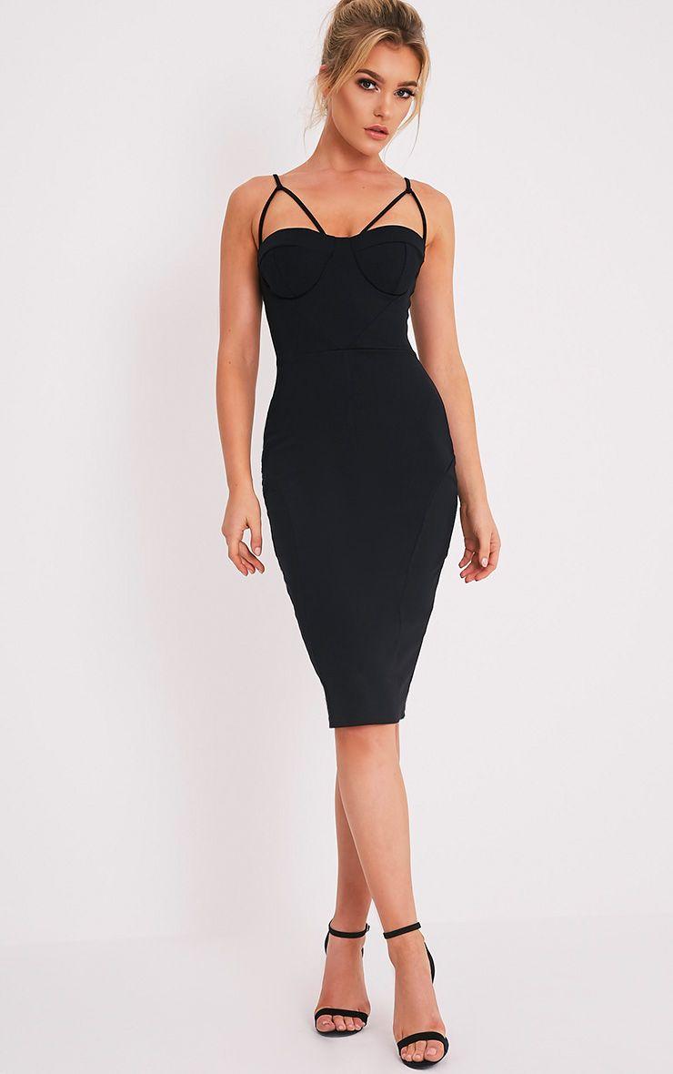 Carrie Black Crepe Panel Midi Dress 1