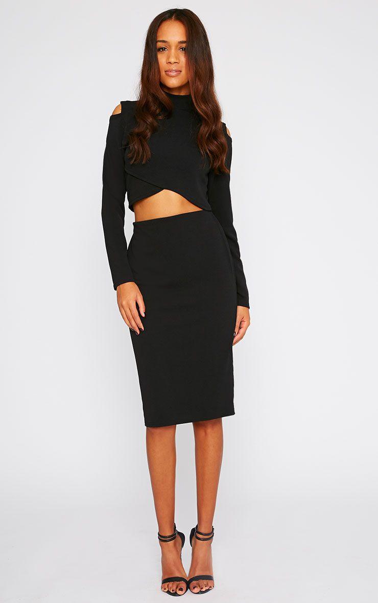 Alina Black Crepe Midi Skirt 1