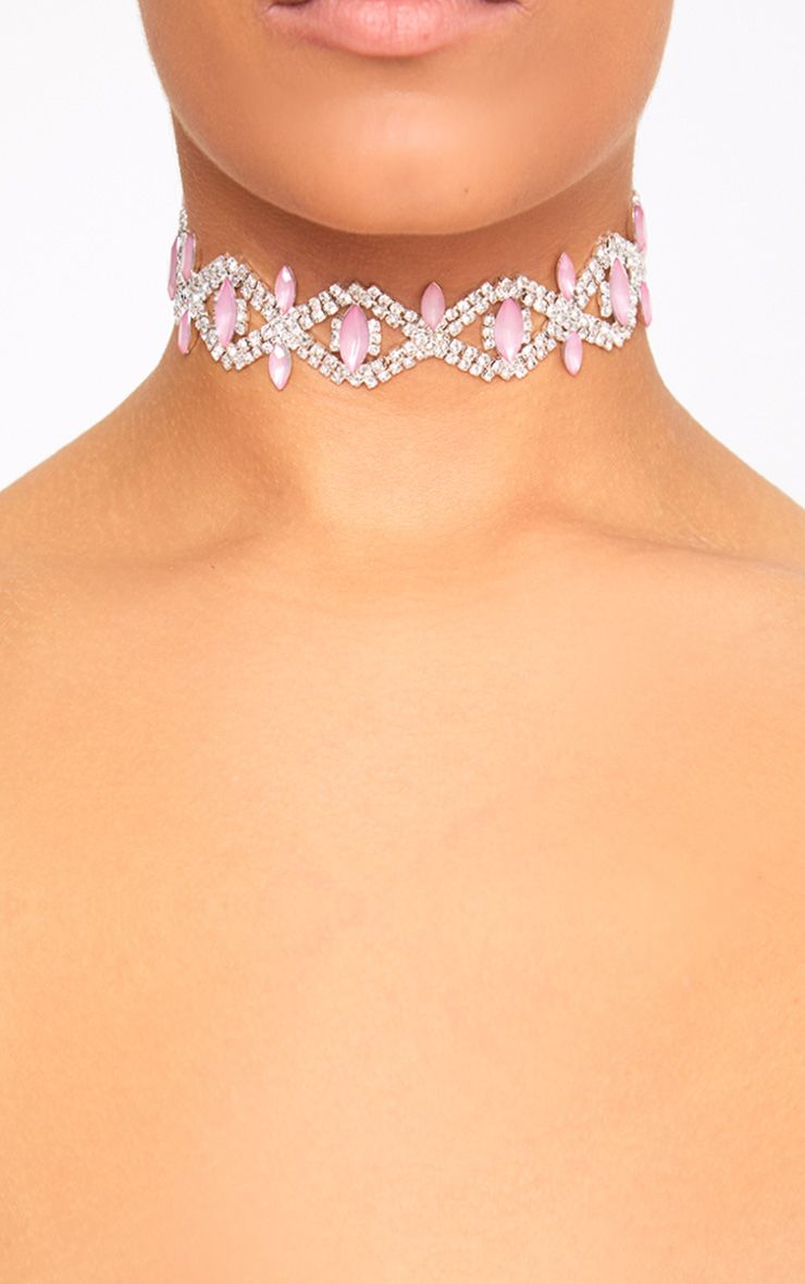 Pink Stone Diamante Choker