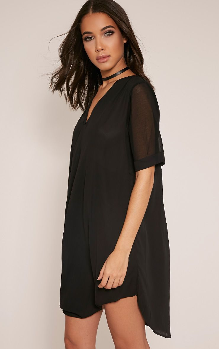 Jenia Black Wrap Front Chiffon Dress