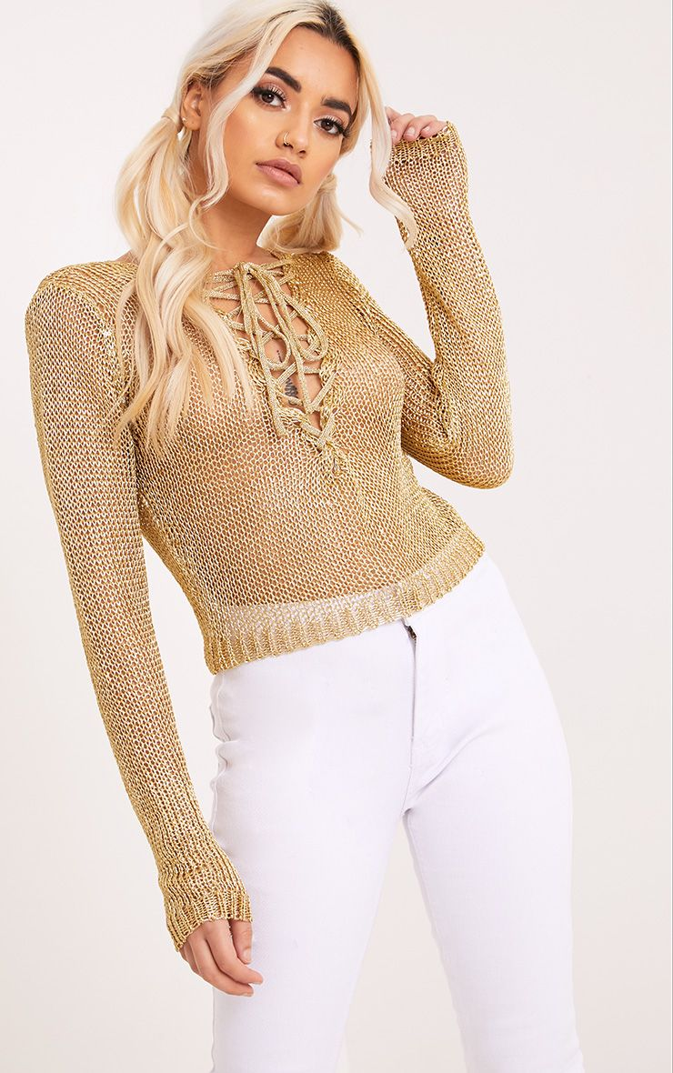 Eilinna Gold Metallic Knit Tie Detail Crop Top