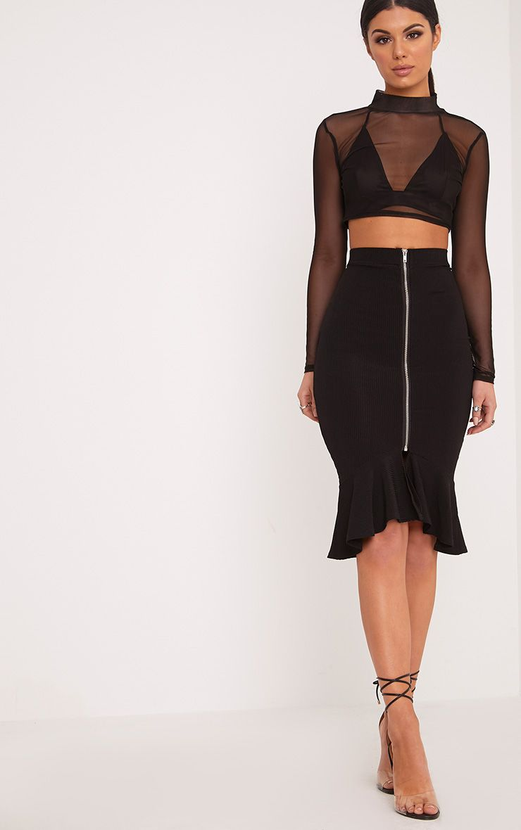 Kalisa Black Slinky Rib Fishtail Midi Skirt