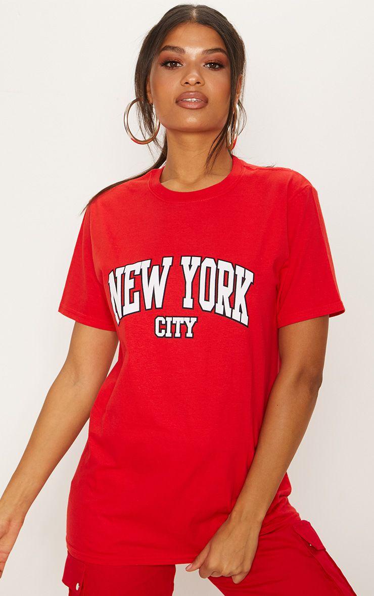 Red New York City Slogan Oversized T Shirt