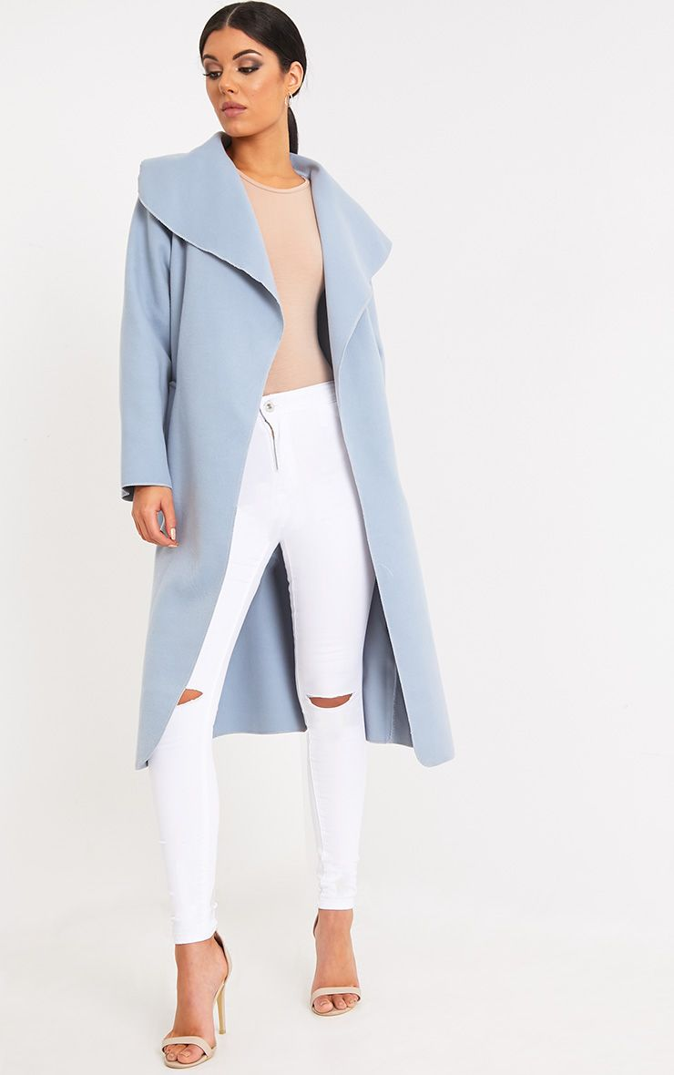 Veronica Blue Oversized Waterfall Belted Coat