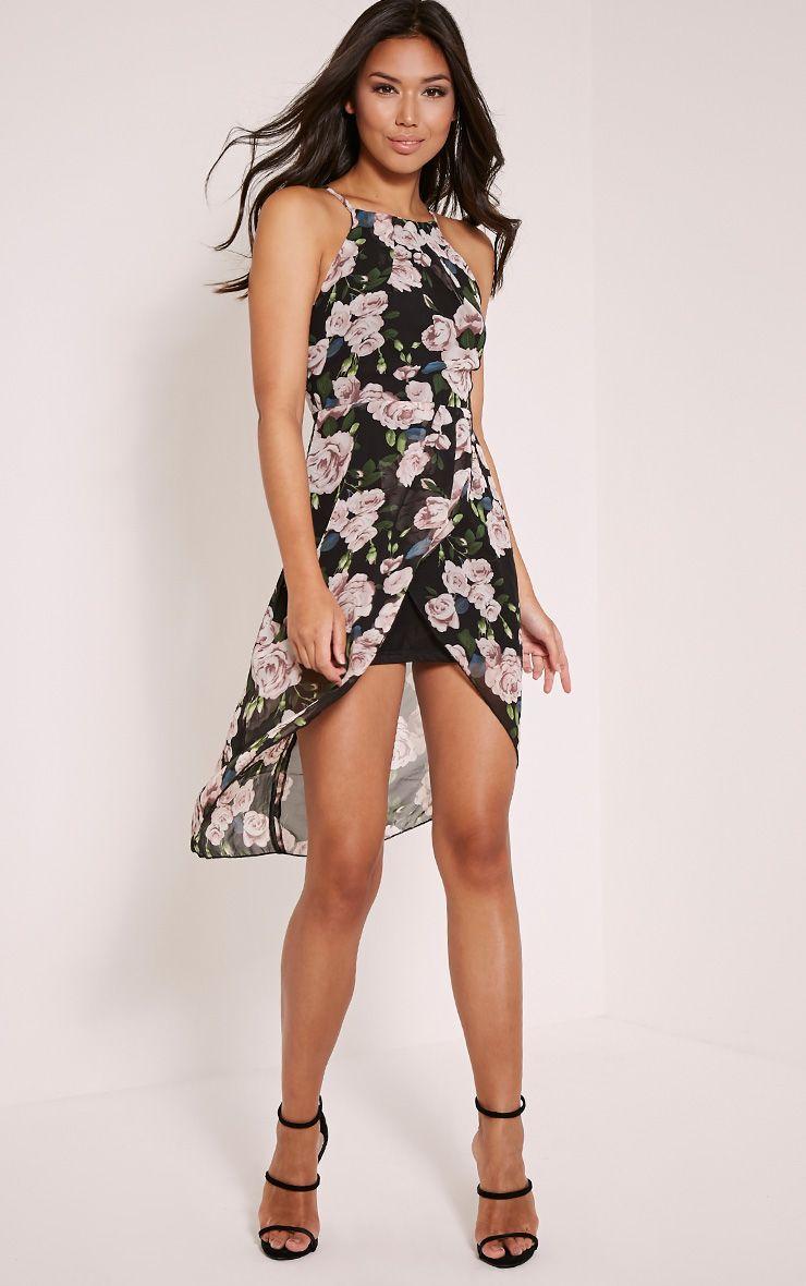 Darby Black Floral Print Wrap Dress 1