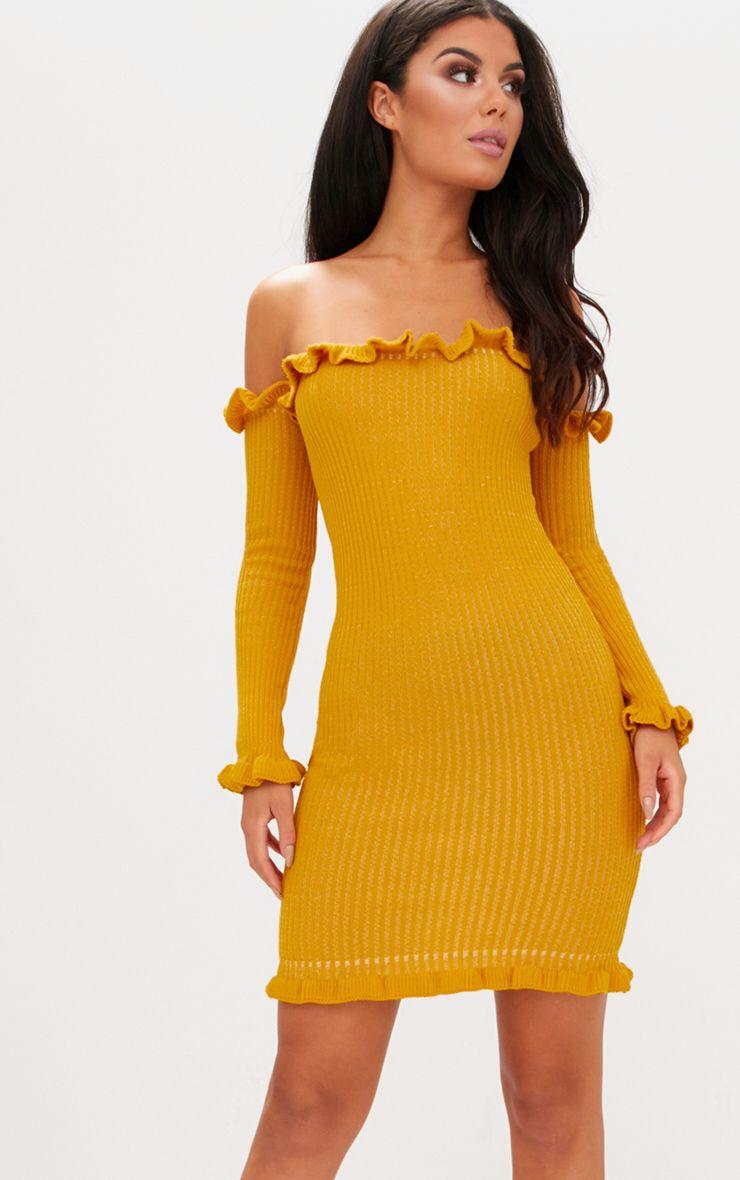 Mustard Ruffle Detail Bardot Mini Dress