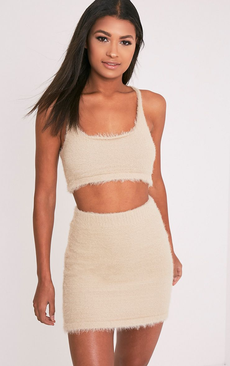 Vivienna Stone Fluffy Knitted Crop Top 1
