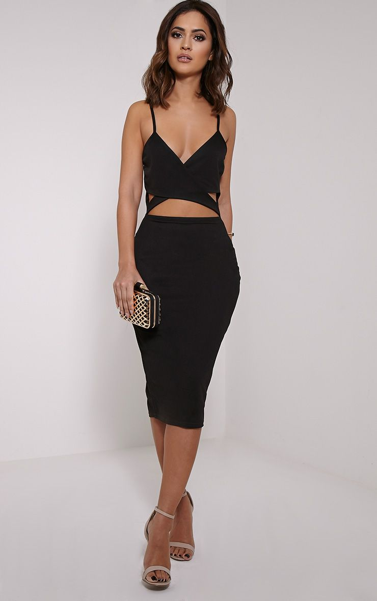 Maysie Black Cross Front Cut Out Bodycon Dress 1