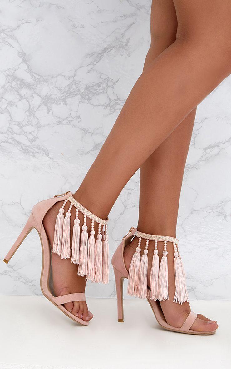 Baby Pink Premium Tassel Embellished Heels