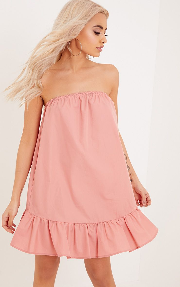 Morandia Pink Strapless Flared Hem Shift Dress
