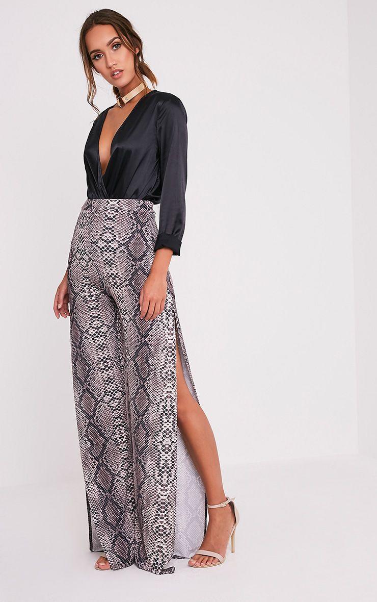 Darsee Taupe Snake Print Side Split Slinky Trousers