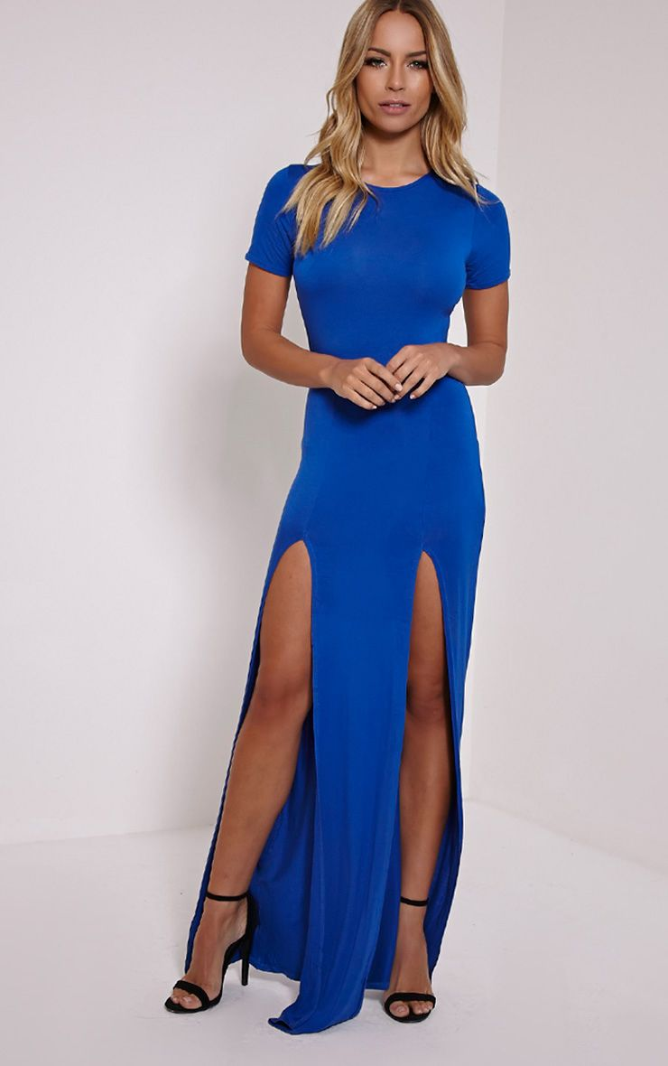 Basic Cobalt Split Front Maxi T Shirt Dress 1