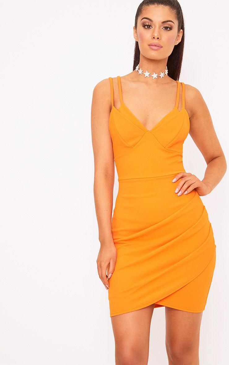 Bright Orange Double Strap Bodycon Dress