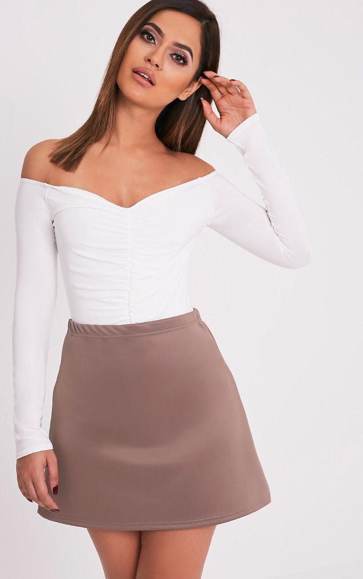 Jessica Taupe A-Line Mini Skirt 1