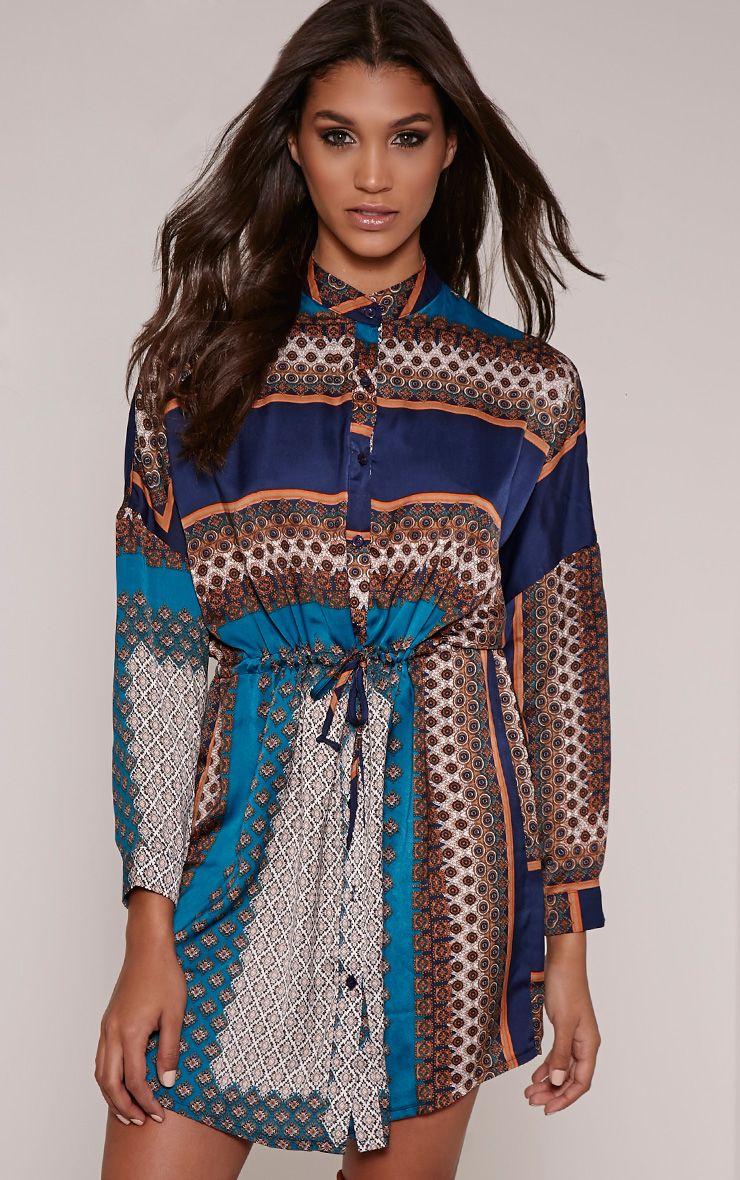 Orian Navy Scarf Print Collarless Shirt Dress 1