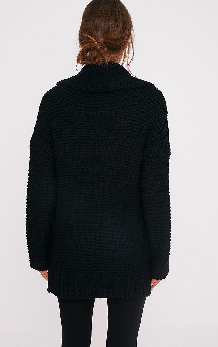 Camarina pull tricoté surdimensionné à col roulé noir 2