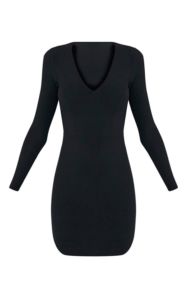 Shylo Black Long Sleeve Plunge Bodycon Dress 3