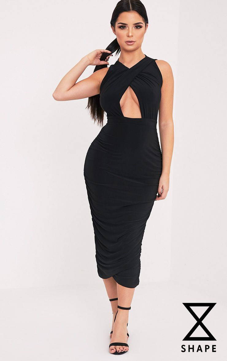 Shape Careen Black Ruched Cross Front Midi Dress