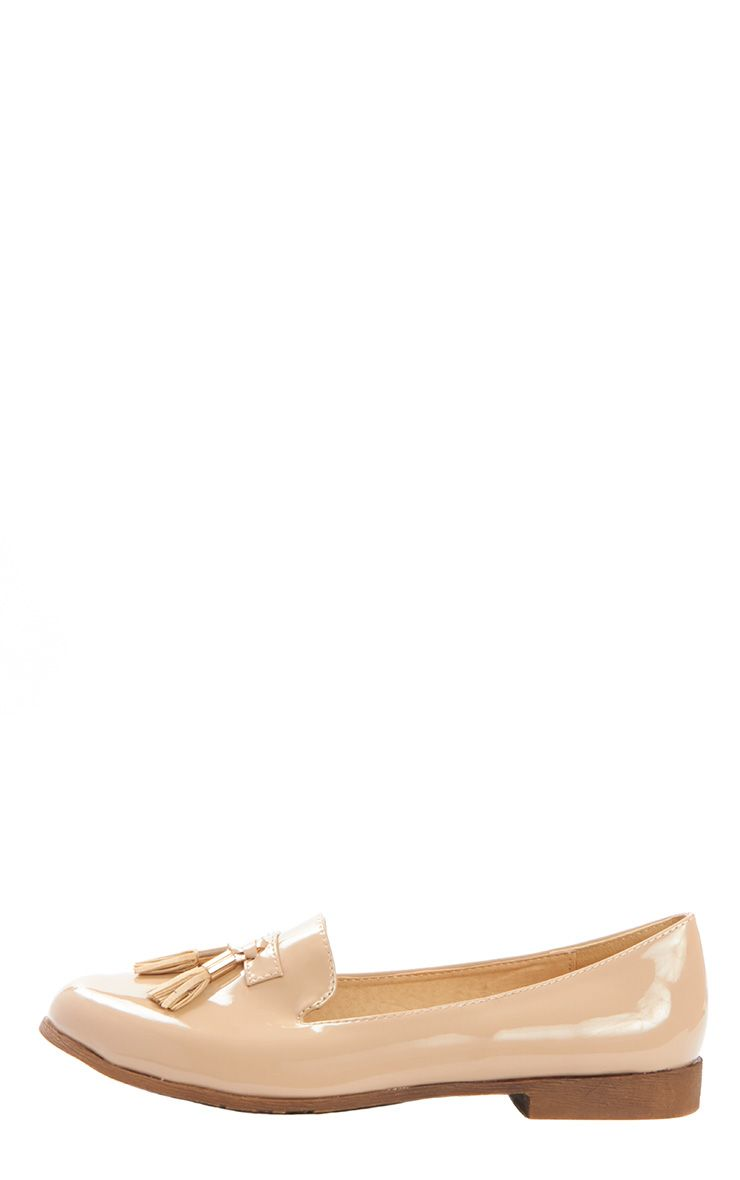 Gwyneth Beige Patent Tassel Loafer 1