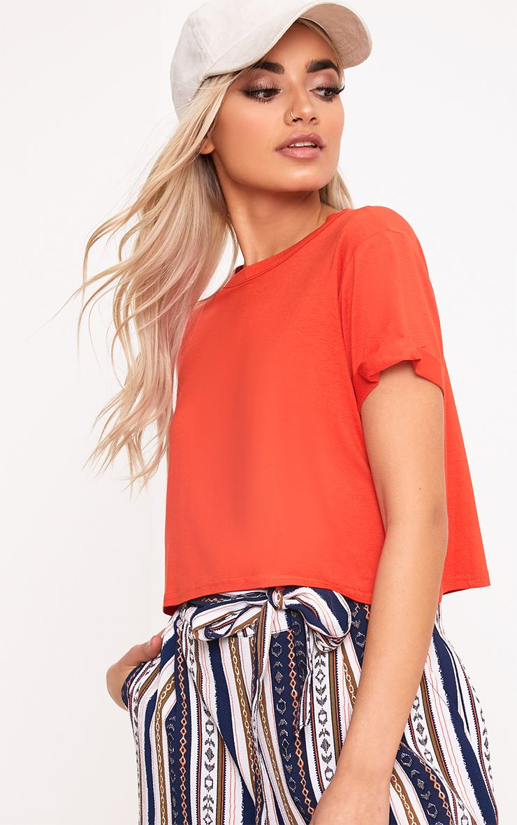 Basic Bright Orange Roll Sleeve Crop T Shirt