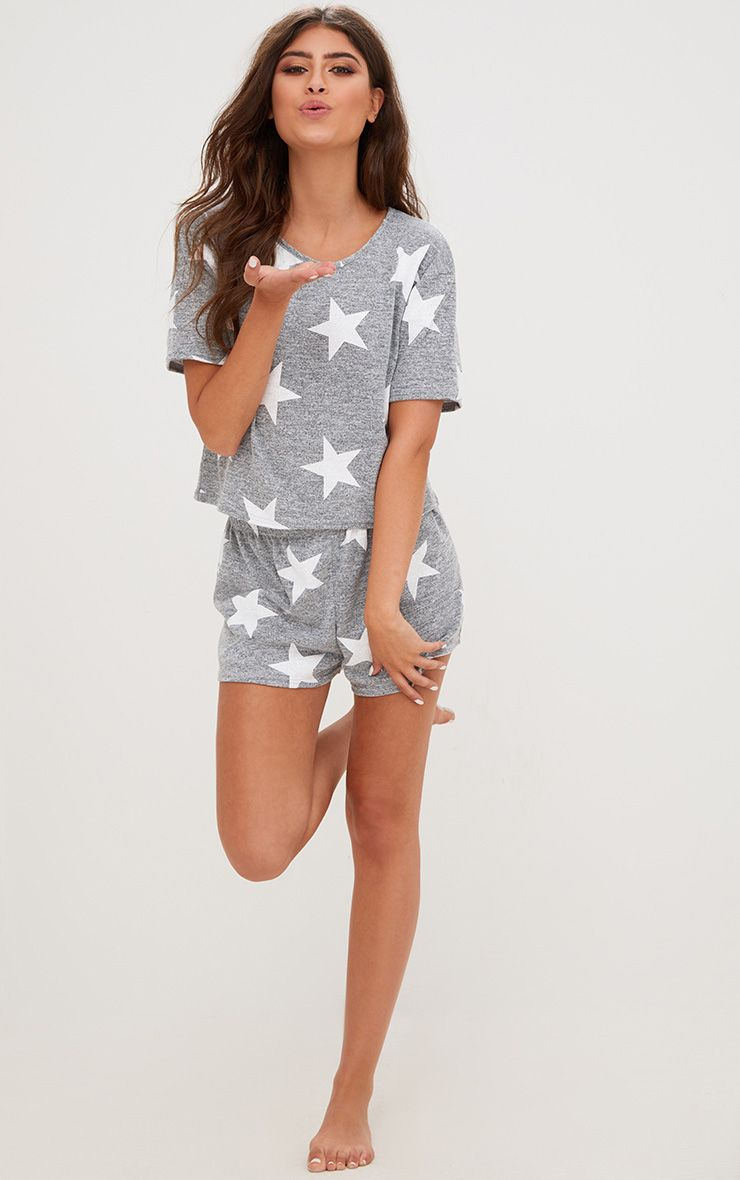 Grey Star T Shirt PJ Set