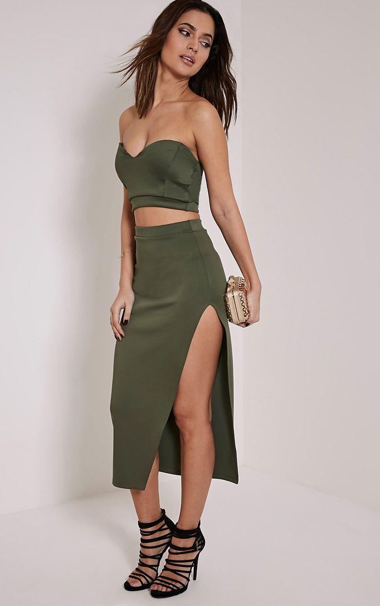 Ella Khaki Scuba Midi Skirt