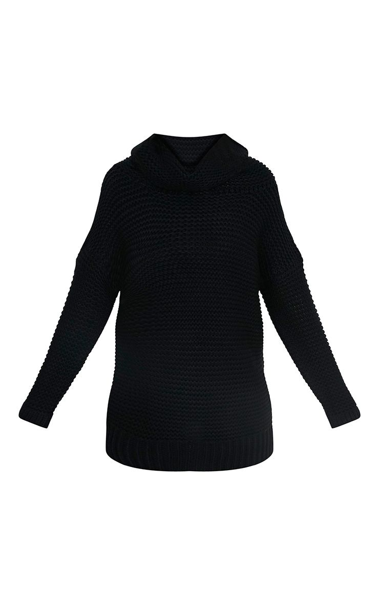 Camarina pull tricoté surdimensionné à col roulé noir 3