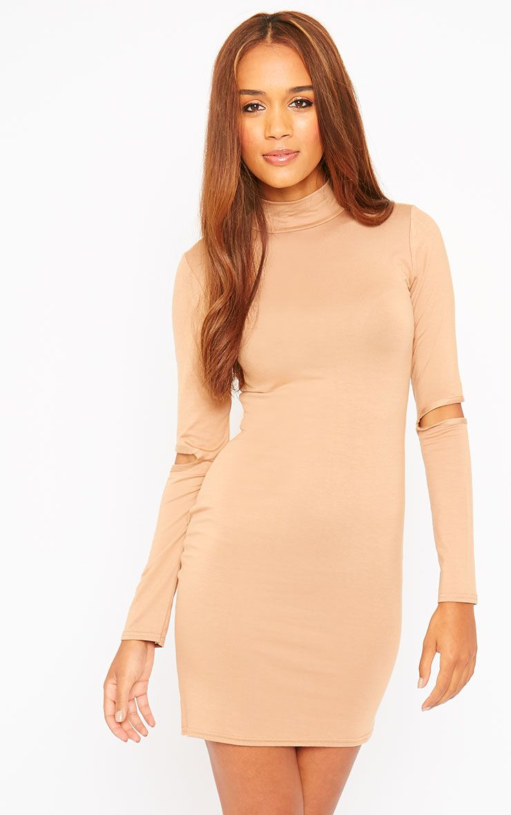 Basic Camel Slit Elbow Mini Dress 1