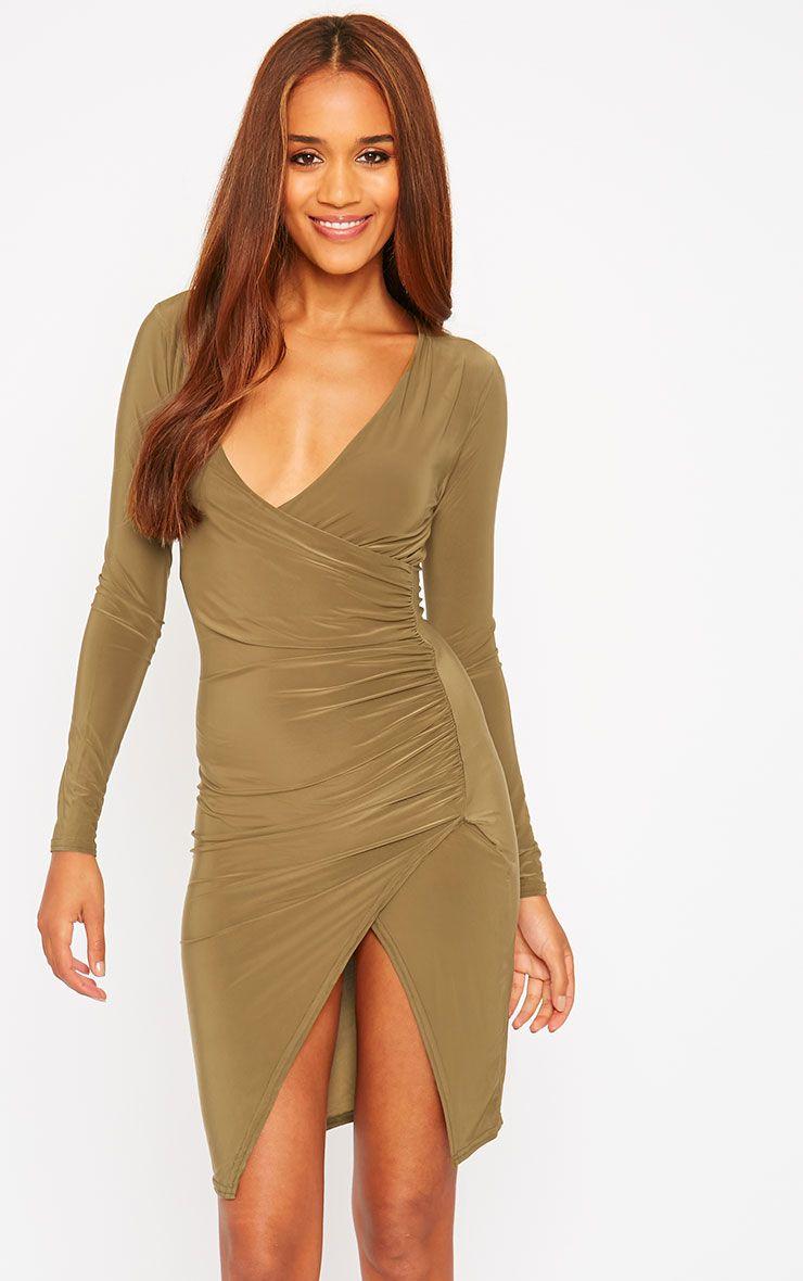 Iona Khaki Slinky Wrap Over Gathered Mini Dress 1