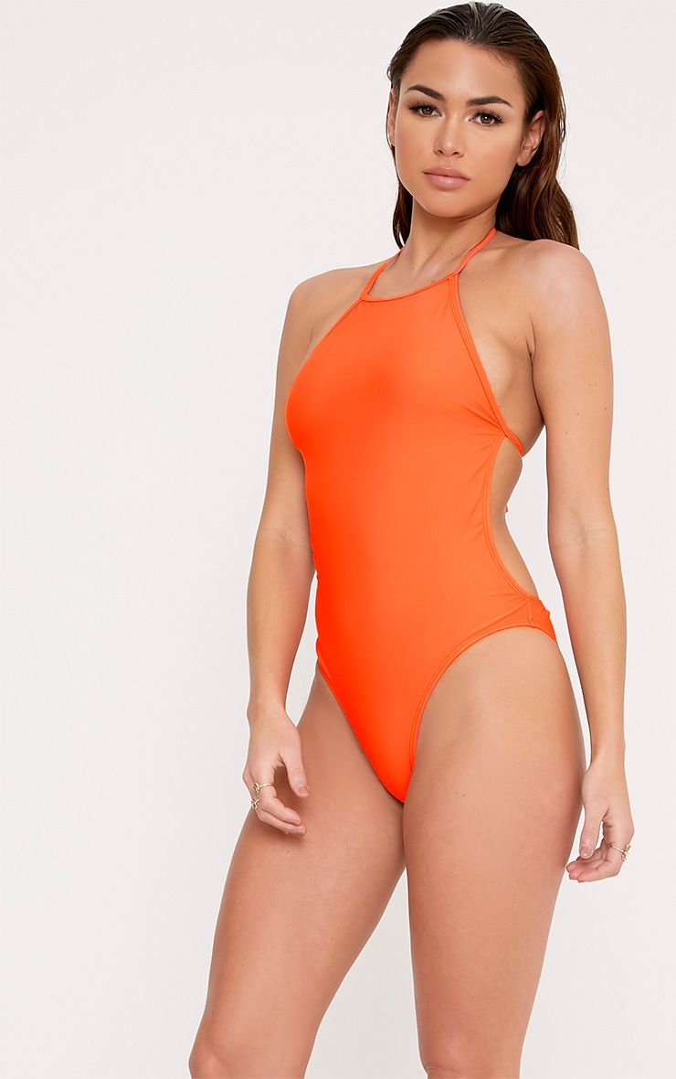 Tinisha Bright Orange Basic 90's Neck Swimsuit