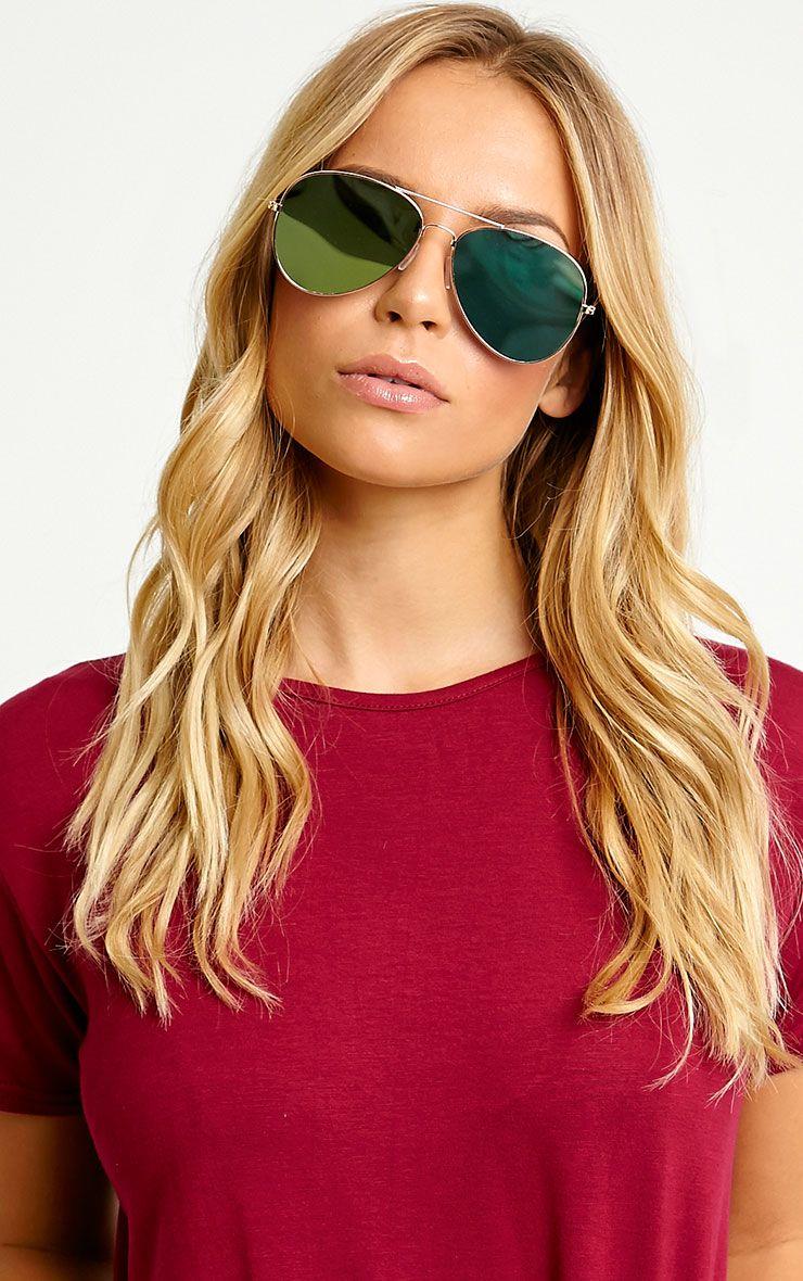 Tresa Green Lense Aviator Sunglasses Yellow