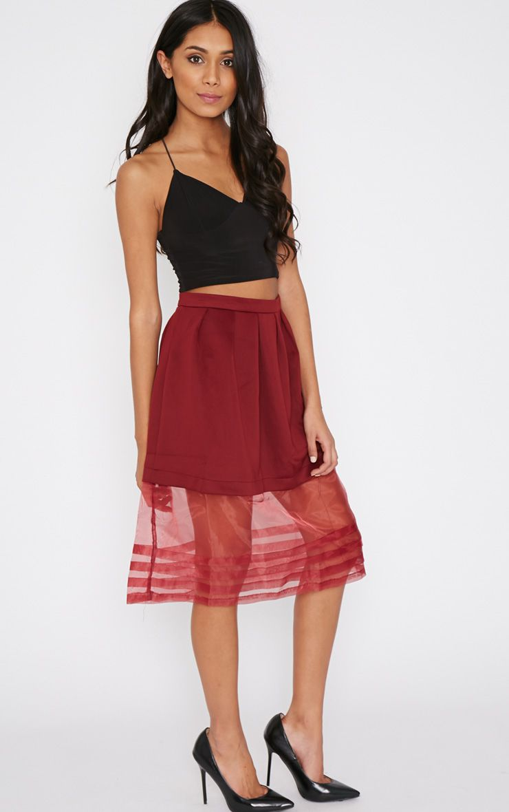 Luciana Wine Mesh A Line Midi Skirt 1