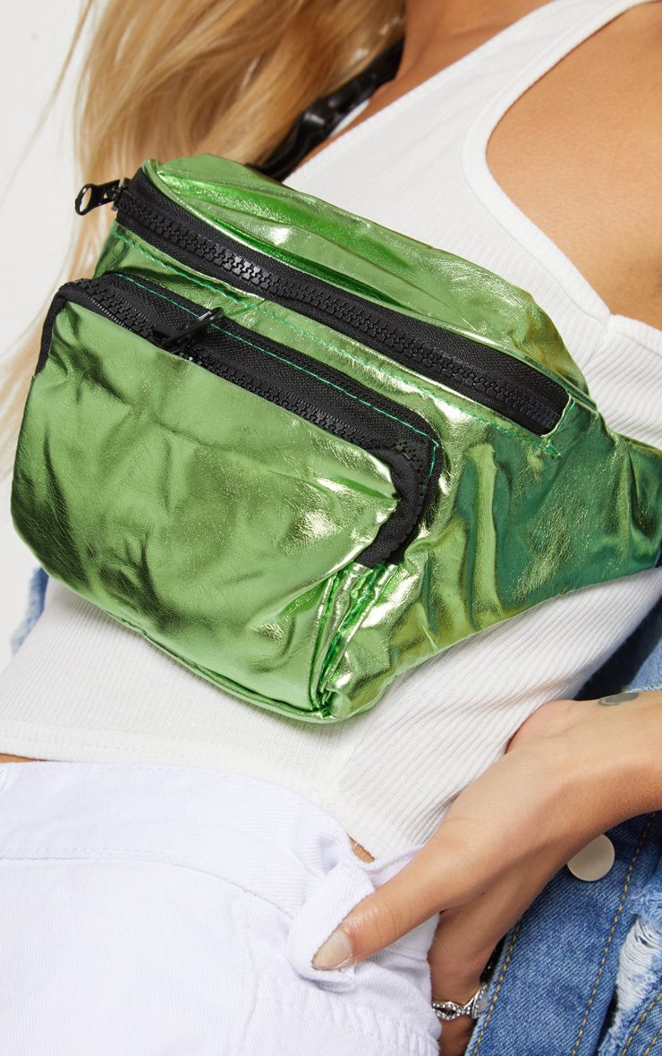 GREEN METALLIC BUM BAG