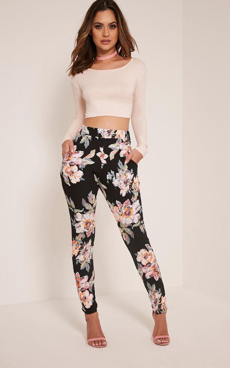 Erinna Neon Floral Crepe Cigarette Trousers 1