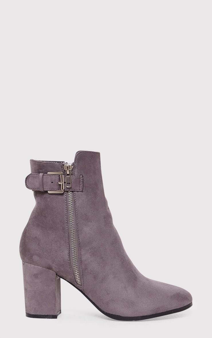 Karina Grey Faux Suede Buckle Ankle Boots