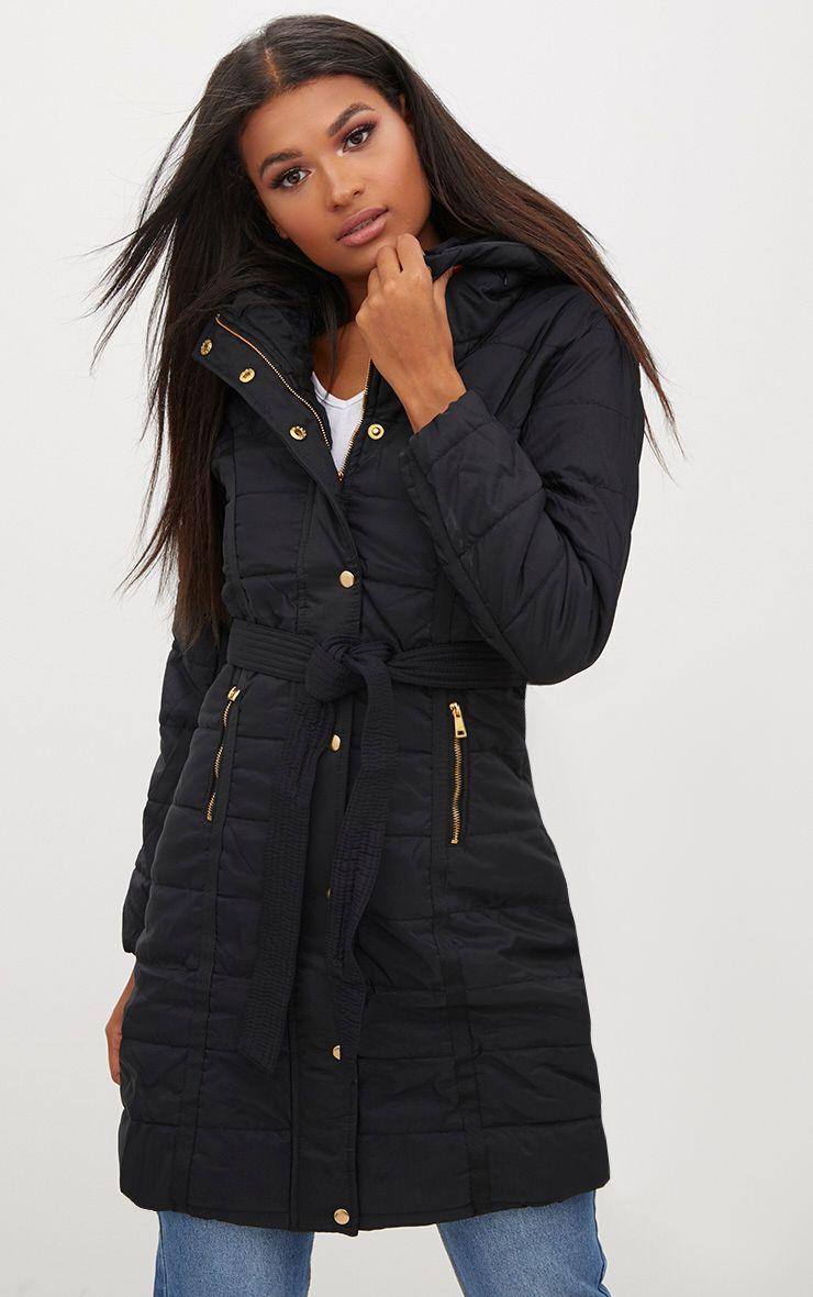 Black Longline Belted Puffer Coat