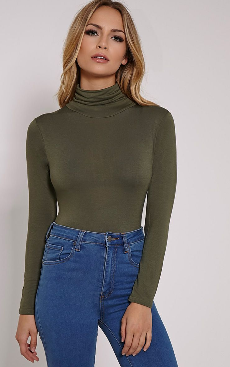 Basic Khaki Roll Neck Long Sleeve Bodysuit