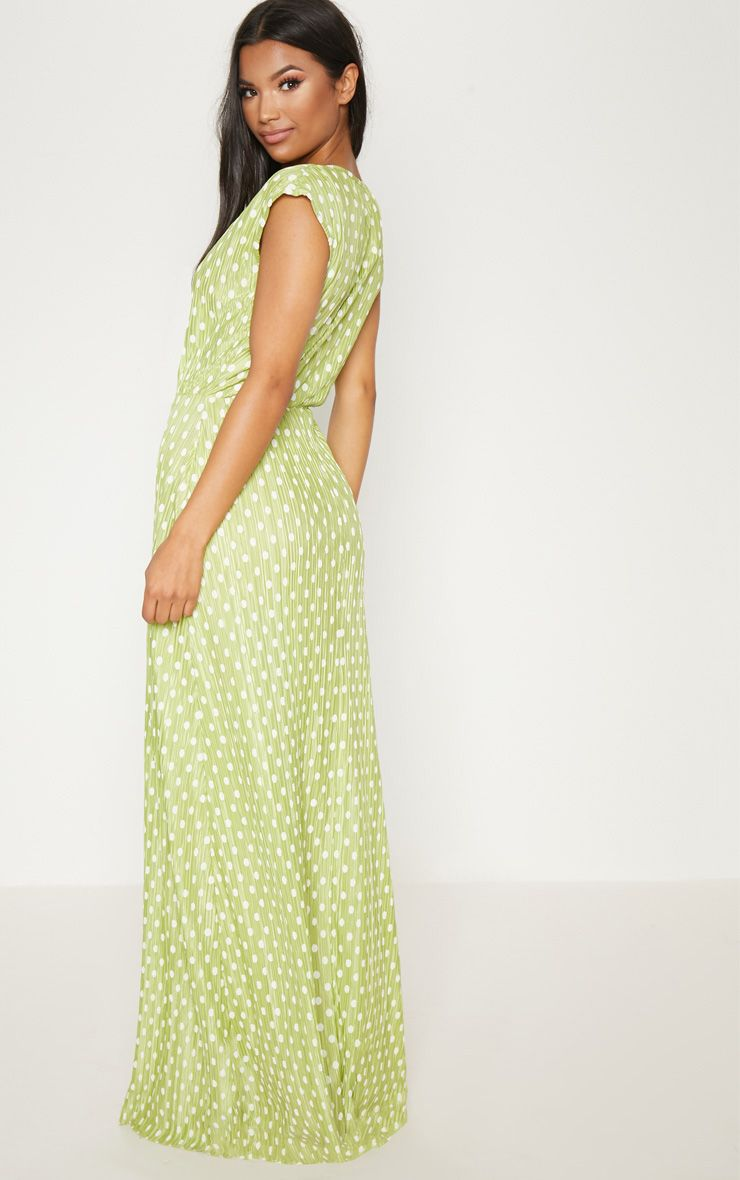 Lime Polka Dot Plisse Plunge Maxi Dress Pretty Little Thing OM3Z2